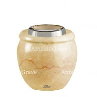 Base for grave lamp Amphòra 10cm - 4in In Botticino marble, with steel ferrule