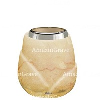Base for grave lamp Liberti 10cm - 4in In Botticino marble, with steel ferrule