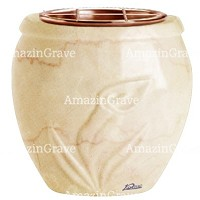Flowers pot Calla 19cm - 7,5in In Botticino marble, copper inner