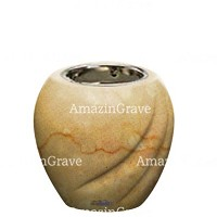 Base for grave lamp Soave 10cm - 4in In Botticino marble, with recessed nickel plated ferrule