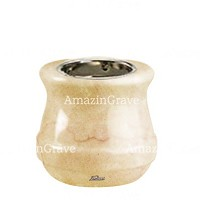 Base for grave lamp Calyx 10cm - 4in In Botticino marble, with recessed nickel plated ferrule