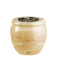 Base for grave lamp Amphòra 10cm - 4in In Botticino marble, with recessed nickel plated ferrule