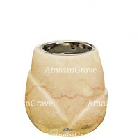 Base for grave lamp Liberti 10cm - 4in In Botticino marble, with recessed nickel plated ferrule