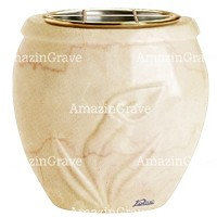 Flowers pot Calla 19cm - 7,5in In Botticino marble, golden steel inner