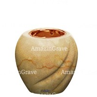 Base for grave lamp Soave 10cm - 4in In Botticino marble, with recessed copper ferrule