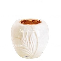 Base for grave lamp Spiga 10cm - 4in In Botticino marble, with recessed copper ferrule