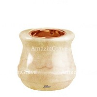Base for grave lamp Calyx 10cm - 4in In Botticino marble, with recessed copper ferrule