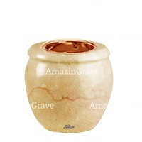 Base for grave lamp Amphòra 10cm - 4in In Botticino marble, with recessed copper ferrule