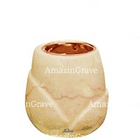 Base for grave lamp Liberti 10cm - 4in In Botticino marble, with recessed copper ferrule