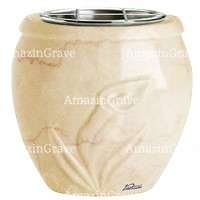 Flowers pot Calla 19cm - 7,5in In Botticino marble, steel inner