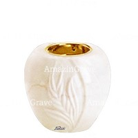 Base for grave lamp Spiga 10cm - 4in In Botticino marble, with recessed golden ferrule
