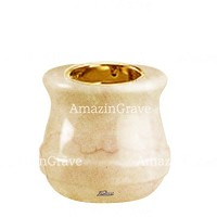 Base for grave lamp Calyx 10cm - 4in In Botticino marble, with recessed golden ferrule