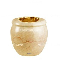Base for grave lamp Amphòra 10cm - 4in In Botticino marble, with recessed golden ferrule