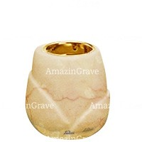 Base for grave lamp Liberti 10cm - 4in In Botticino marble, with recessed golden ferrule