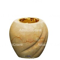 Base for grave lamp Soave 10cm - 4in In Botticino marble, with recessed golden ferrule