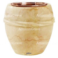 Flowers pot Chordè 19cm - 7,5in In Botticino marble, copper inner