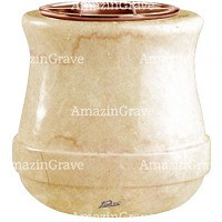 Flowers pot Calyx 19cm - 7,5in In Botticino marble, copper inner