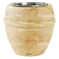 Flowers pot Chordè 19cm - 7,5in In Botticino marble, steel inner