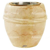 Flowers pot Chordè 19cm - 7,5in In Botticino marble, golden steel inner