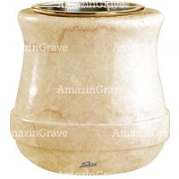 Flowers pot Calyx 19cm - 7,5in In Botticino marble, golden steel inner