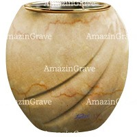 Flowers pot Soave 19cm - 7,5in In Botticino marble, golden steel inner