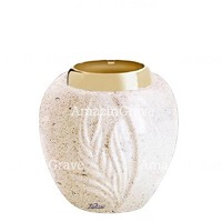 Base for grave lamp Spiga 10cm - 4in In Calizia marble, with golden steel ferrule