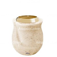 Base for grave lamp Gondola 10cm - 4in In Calizia marble, with golden steel ferrule