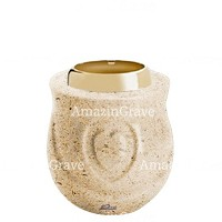 Base for grave lamp Cuore 10cm - 4in In Calizia marble, with golden steel ferrule