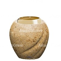 Base for grave lamp Soave 10cm - 4in In Calizia marble, with golden steel ferrule