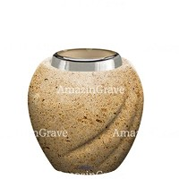 Base for grave lamp Soave 10cm - 4in In Calizia marble, with steel ferrule