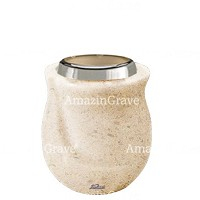 Base for grave lamp Gondola 10cm - 4in In Calizia marble, with steel ferrule