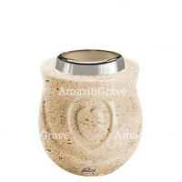 Base for grave lamp Cuore 10cm - 4in In Calizia marble, with steel ferrule