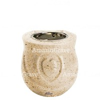 Base for grave lamp Cuore 10cm - 4in In Calizia marble, with recessed nickel plated ferrule