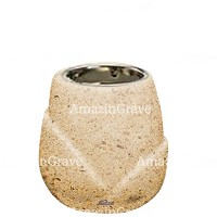 Base for grave lamp Liberti 10cm - 4in In Calizia marble, with recessed nickel plated ferrule