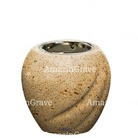 Base for grave lamp Soave 10cm - 4in In Calizia marble, with recessed nickel plated ferrule