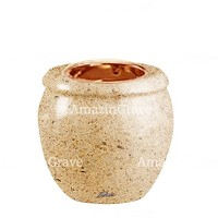 Base for grave lamp Amphòra 10cm - 4in In Calizia marble, with recessed copper ferrule