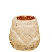 Base for grave lamp Liberti 10cm - 4in In Calizia marble, with recessed copper ferrule