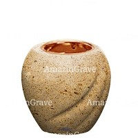 Base for grave lamp Soave 10cm - 4in In Calizia marble, with recessed copper ferrule