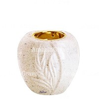 Base for grave lamp Spiga 10cm - 4in In Calizia marble, with recessed golden ferrule