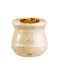 Base for grave lamp Calyx 10cm - 4in In Calizia marble, with recessed golden ferrule