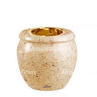 Base for grave lamp Amphòra 10cm - 4in In Calizia marble, with recessed golden ferrule