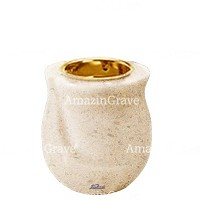 Base for grave lamp Gondola 10cm - 4in In Calizia marble, with recessed golden ferrule