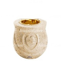 Base for grave lamp Cuore 10cm - 4in In Calizia marble, with recessed golden ferrule