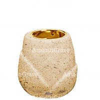 Base for grave lamp Liberti 10cm - 4in In Calizia marble, with recessed golden ferrule
