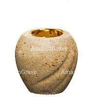 Base for grave lamp Soave 10cm - 4in In Calizia marble, with recessed golden ferrule