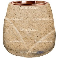 Flowers pot Liberti 19cm - 7,5in In Calizia marble, copper inner