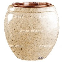 Flowers pot Amphòra 19cm - 7,5in In Calizia marble, copper inner
