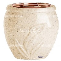 Flowers pot Calla 19cm - 7,5in In Calizia marble, copper inner
