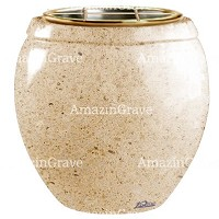 Flowers pot Amphòra 19cm - 7,5in In Calizia marble, golden steel inner