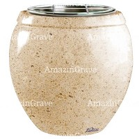 Flowers pot Amphòra 19cm - 7,5in In Calizia marble, steel inner